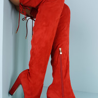 Mona Over The Knee Boots - Red