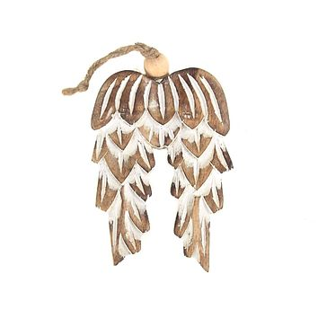 Wooden Angel Wing Christmas Ornament, Natural, 4-1/2-Inch