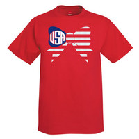 Independence Day Bow Monogram T-Shirt - Red