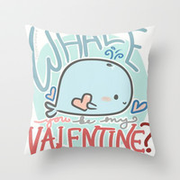 Whale You Be My Valentine Throw Pillow by xjen94