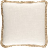 Ellery Linen Throw Pillow with Fringed Border