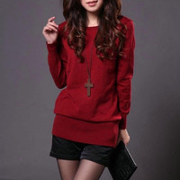 Pure Color Oversized Low Round Neck Long Sleeve Thicken Bottom Knit Top Sweater = 1958500996