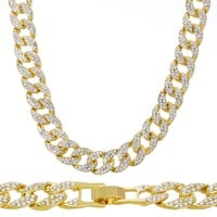 """Jewelry Kay style Men's Choker Heavy Iced Out 15 mm 16"""" Gold Toned CZ Stone Cuban Chain Necklace"""