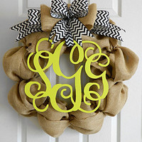 Chevron Initial Wreaths for Year Round Door Decor - Perfect for Mother's Day - Custom colors for Wedding Monogram