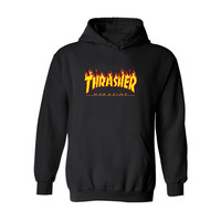 Hip Hop Trasher Sportswear Hooded Sweatshirts s Pullover Hoodies Male Thrasher Hoodie 4XL