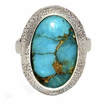 Blue Copper Turquoise Sterling Silver Oval Ring