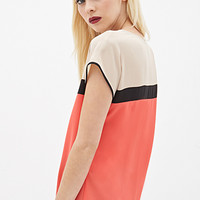 FOREVER 21 Colorblocked Woven Top Coral/Black