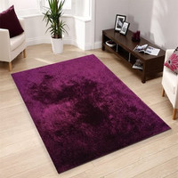 Solid MAGENTA Shag Area Rug Amore collection Hand Tufted Weave