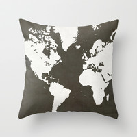 MAP! (in grey) Throw Pillow by Leah Thibodeau