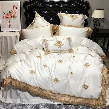 Oriental Embroidery Luxury Royal Bedding Set Egypian cotton Lace Golden White Queen King bed set Bedlinen sheet Duvet cover set