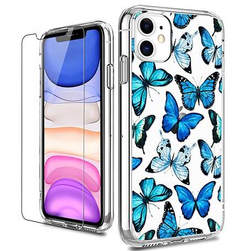 LUHOURI iPhone 11 Case with Screen Protector,Clear with Floral Flower Designs for Girls Women,Shockproof Slim Fit TPU Cover Protective Phone Case for iPhone 11 6.1 inch Blue Butterflies Floral Flower Blue Butterflies
