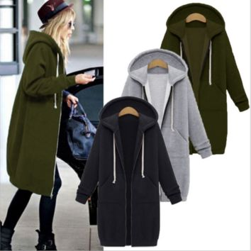 Womens Zip Front Fleece Long Hoodie Sweatshirt Jacket Plus Size