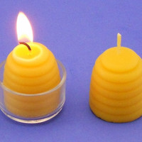 Beehive Candles, Bees Wax Candles, One Dozen Large Beeswax Tea Light Candles, Pure Organic Beeswax, 100% Pure Natural Beeswax, 7 Hours Each