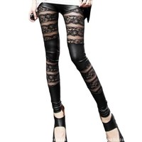 Amour-Women Lace Sheer Mesh Inset Stripes Ankle Length Footless Legging Tregging Tight One Size Black (Splicing Lace):Amazon:Clothing