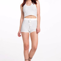 (alr) Pinstripe knit cropped white hoddie top