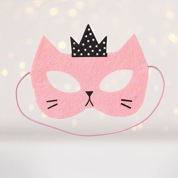 Pink Princess Kitty Cat Felt Costume Face Mask