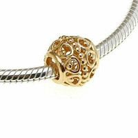 New Authentic Pandora Solid 14K Yellow Gold Gilded Cage Charm