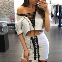 Fashion Multicolor Deep V Hollow Crisscross Bandage Short Sleeve Crop Top Skirt Set Two-Piece