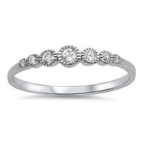 Sterling Silver CZ Round Stone Ring