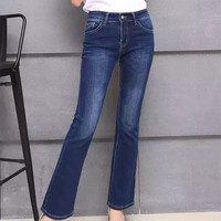 Tight Low Waist Show thin Flared Jeans
