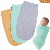 Henry Hunter Baby Swaddle Cocoon Sack | 1, 2, 3 Packs | The Simple Swaddle | Soft Stretchy Comfortable Cotton Blanket for Babies Infants Newborn 0-3 Months (3 Pack - Turquoise | Peach | Light Heather)