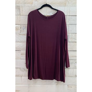 Boat Neck Tunic Top- Burgundy