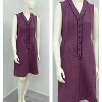 Vintage 60s Mod Maroon and Black Shift Dress, Space Age, Striped Dress, Sleeveless, Knee Length, Casual Dress, Summer Dress