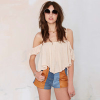 Khaki Off-shoulder Pleated Blouse