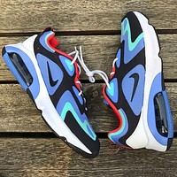 Nike Air Max 200 Sports Air Sneakers Contrast Polyline Print Shoes Blue