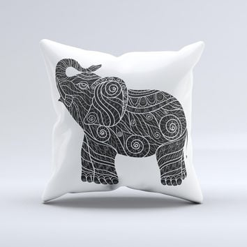 The Zendoodle Elephant ink-Fuzed Decorative Throw Pillow