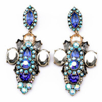 Multi Color Stone Layer Earrings