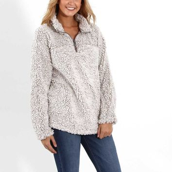 Dylan Frosty Tipped Stadium Pullover for Women in Putty 61W40FTP