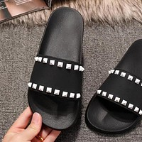 Valentino Trending Women Stylish Casual Rivets Flats Sandals Slipper Shoes Black I-ALS-XZ