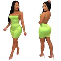 Women Sleeveless Sexy Backless Neon Green/Pink Mini Dress