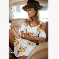Fashion Lemon Print Strap V-Neck Strapless Middle Sleeve Backless Mini Dress
