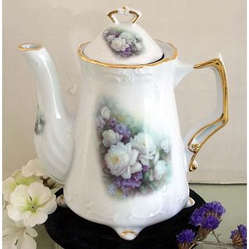 Antique Footed Sussex Rose Porcelain Teapot