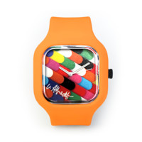 Lex Albrecht Rainbow Nailpolish Watch in a Neon Orange Strap