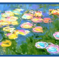 Water Lilies in Bloom Runner inspired by Claude Monet's impressionist painting Counted Cross Stitch Pattern