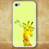 iphone 4 case, iPhone 4s Case, iphone case 4s, cute Giraffe, lovely Giraffe lady Pattern white hard case for iphone 4, iphone 4S