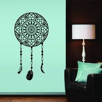 Wall Decal Art Decor Decals Sticker Dream on Catcher Dreamcatcher Feathers Bedroom Protection Symbol Amulet (M254)
