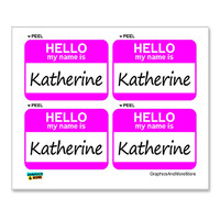 Katherine Hello My Name Is - Sheet of 4 Stickers