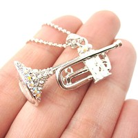 3D Miniature Musical Instrument Trumpet Shaped Pendant Necklace in Silver