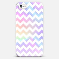 Pastel Rainbow White Chevron iPhone 5s case by Organic Saturation | Casetagram