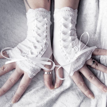 Avowed Maiden Victorian Corset Laced Up Fingerless Gloves - White Bamboo Cotton & Lace - Wedding Bridal Lolita Gothic Belly Dance Boho Goth