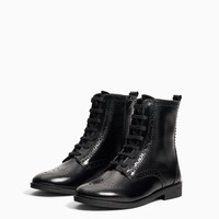 LEATHER WINGTIP ANKLE BOOTS - Boots & Ankle boots-GIRL-KIDS-SHOES | ZARA United States