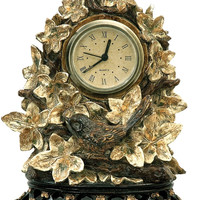 "0-026888>8""h Ivy Finch Clock Brown/Gold"