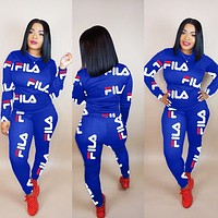 FILA Newest Hot Sale Woman Print Long Sleeve Top Pants Set Two Piece Sportswear Blue