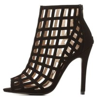 Qupid Caged Stiletto Ankle Booties by Charlotte Russe - Black