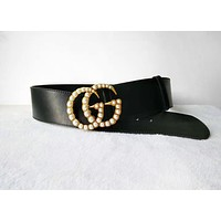 GUCCI Tide brand retro pearl buckle unisex wild smooth buckle belt