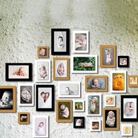 7pcs/lot 7 inch vintage frame photo DIY photo frames for picture wedding Gift Home Decor photo frame 3 colors wall photo frame